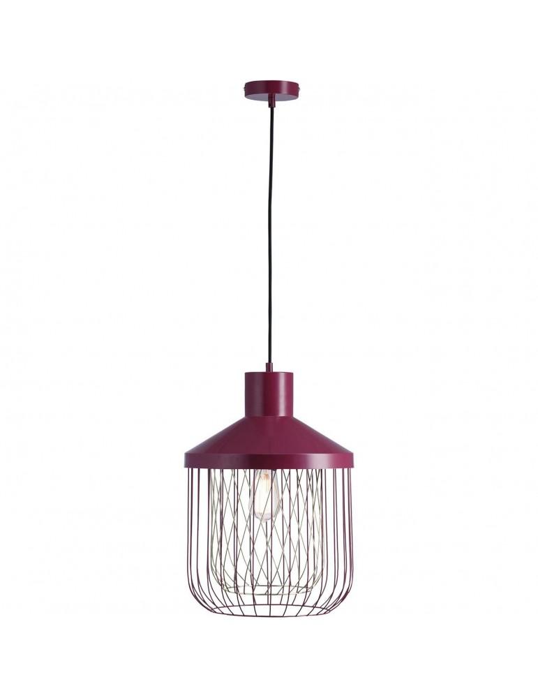 suspension moderne et design en metal facon cage fawn rouge 26621RO