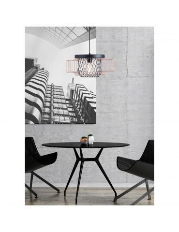 suspension moderne et design en metal facon cage lyra noir et cuivre 26622NC