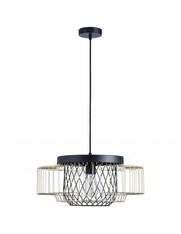 suspension moderne cage lyra noir et dore 26622ND
