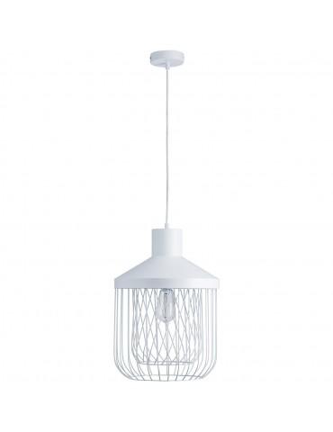 suspension moderne et design en metal facon cage fawn blanc 26621BL