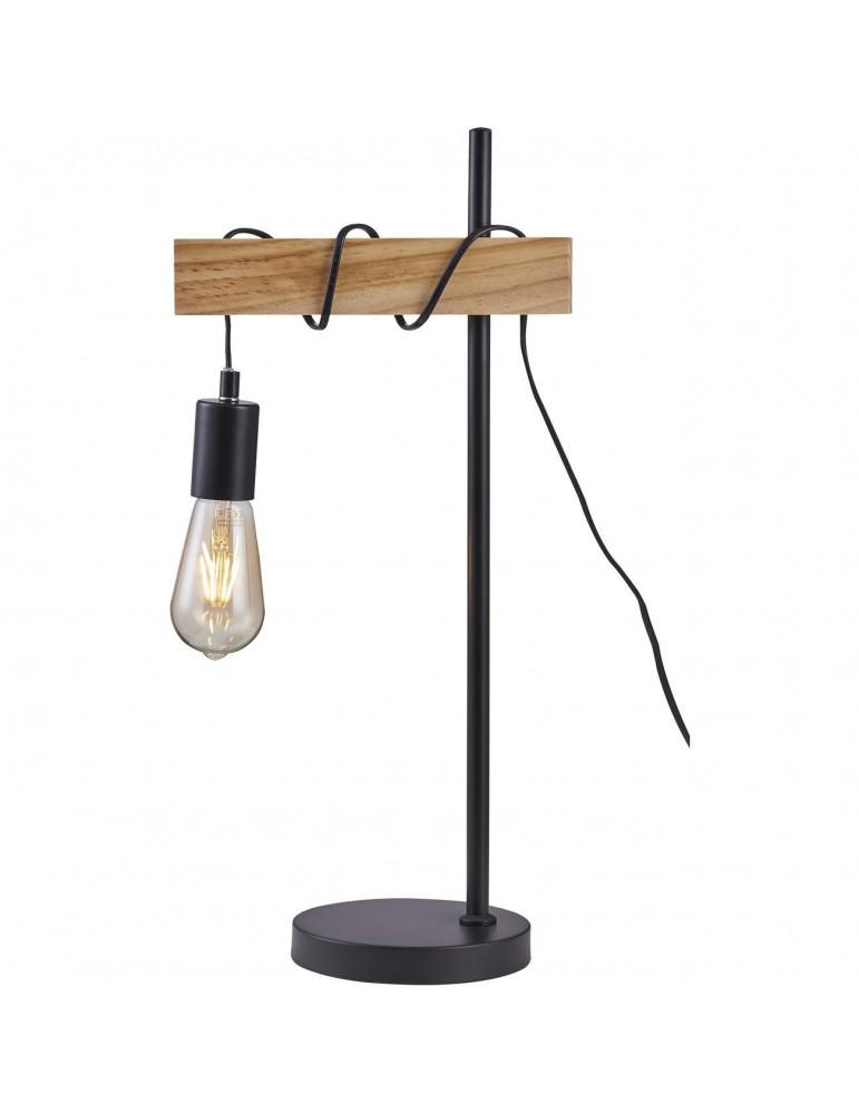 lampadaire industriel braga noir et bois 26411BS