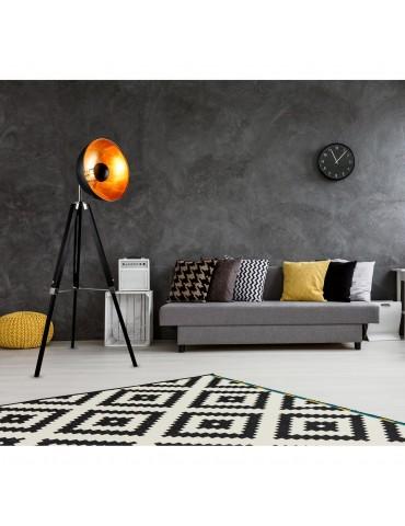 lampadaire trépied design style cinema tangle noir 26219NO