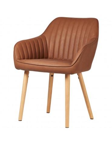Chaise en cuir pu lloyd marron 61122MA