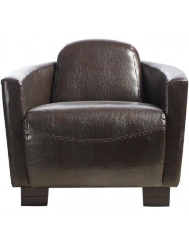 Fauteuil club confortable yen marron 24212MA
