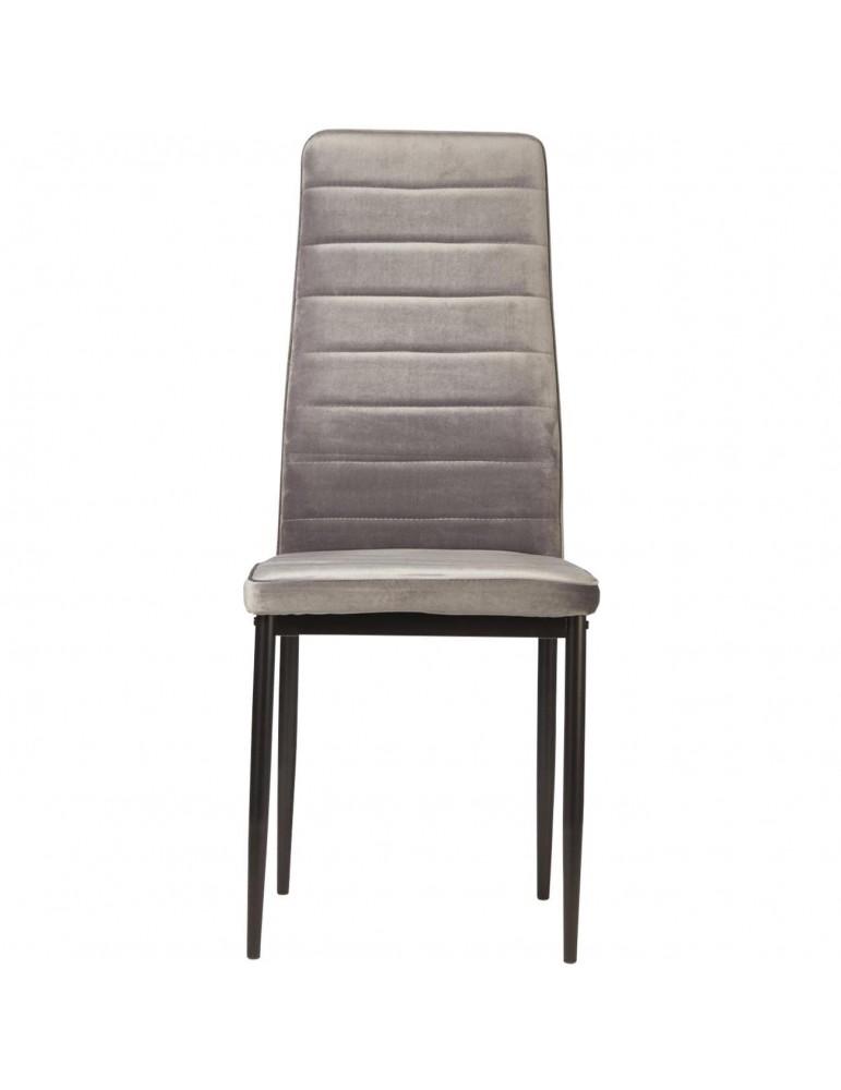 Lot de 4 chaises en velours modernes bree gris 58206GR