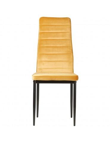 Lot de 4 chaises en velours modernes bree moutarde 58206MT