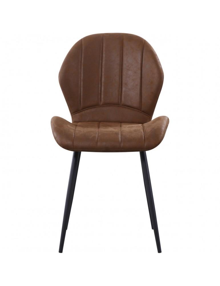Lot de 4 chaises tissu flynn marron 58207MA