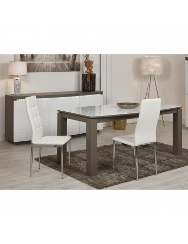 Lot de 4 chaises en cuir ariba blanc 58203BL