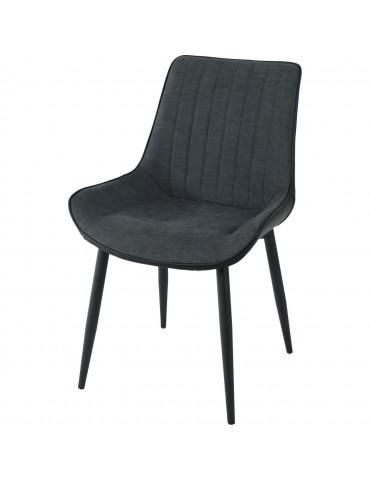 Lot de 4 chaises elegantes mino gris noir 55127GN