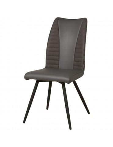 Lot de 2 chaises bi couleurs en cuir oria gris 50321GR