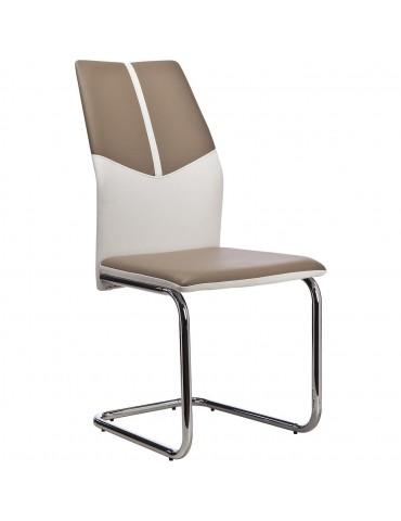Lot de 4 chaises bicolores hydra taupe et blanc 50311TB