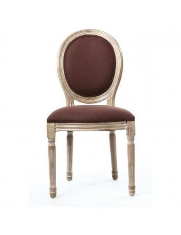 Lot de 2 chaises en lin jak chocolat 47771CH