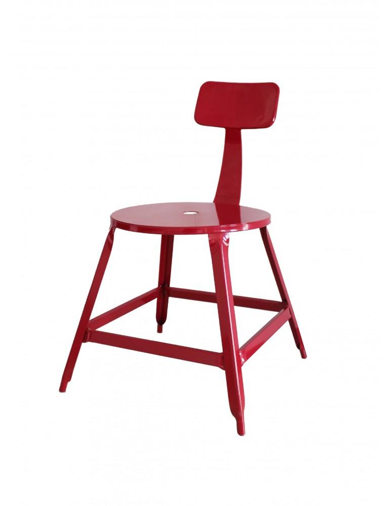 Lot 2 chaises industriel vetro rouge 42702RO