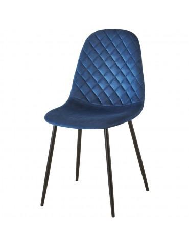 Lot de 4 chaises de sejour velours hoverton bleu 39540BU