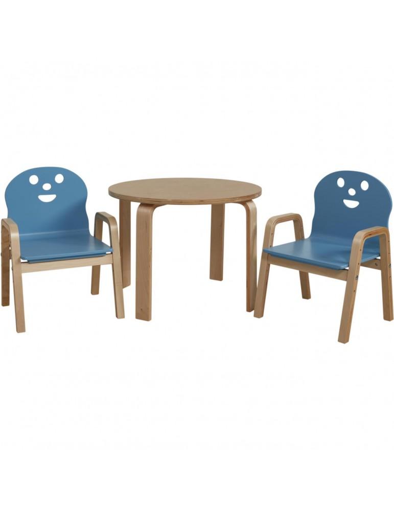 Set 2 chaises + table enfant lodi bleu 41305BU