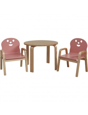 Set 2 chaises + table enfant lodi rose 41305RE