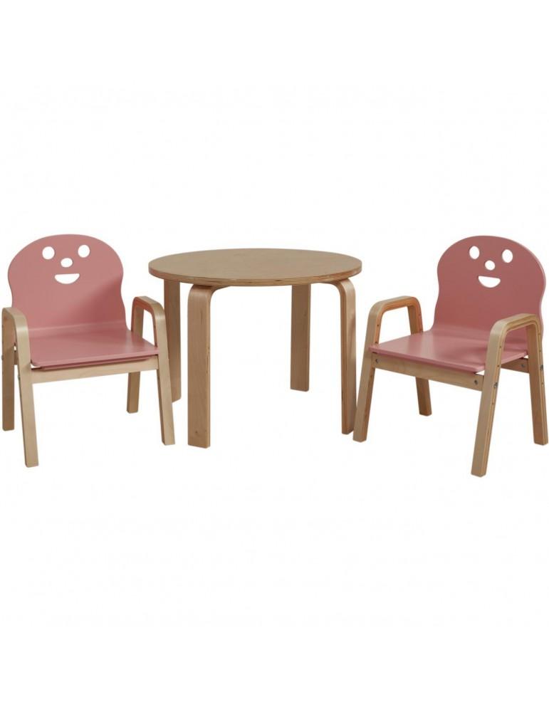Set 2 chaises + table enfant lodi rose 41305RE