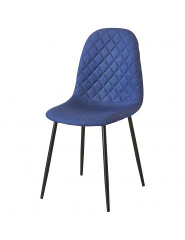 Lot de 4 chaises de sejour tissu simi bleu 39541BU