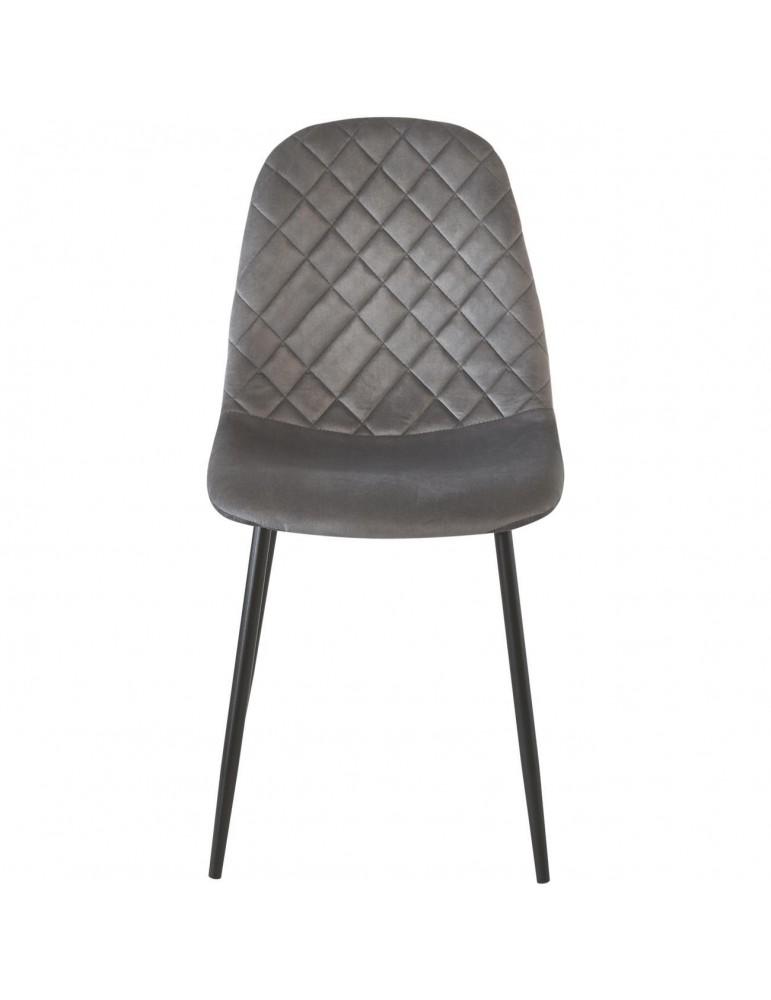 Lot de 4 chaises de sejour velours hoverton gris 39540GR