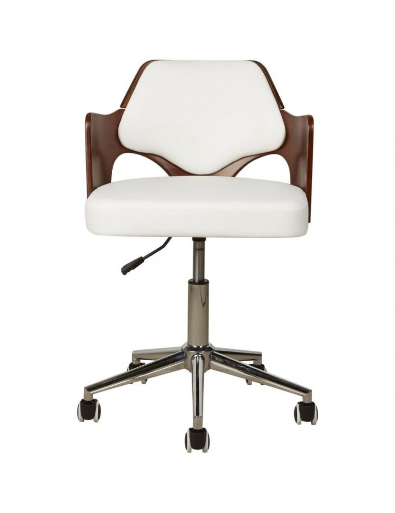 Chaise de bureau elegante plume blanc 35307BL