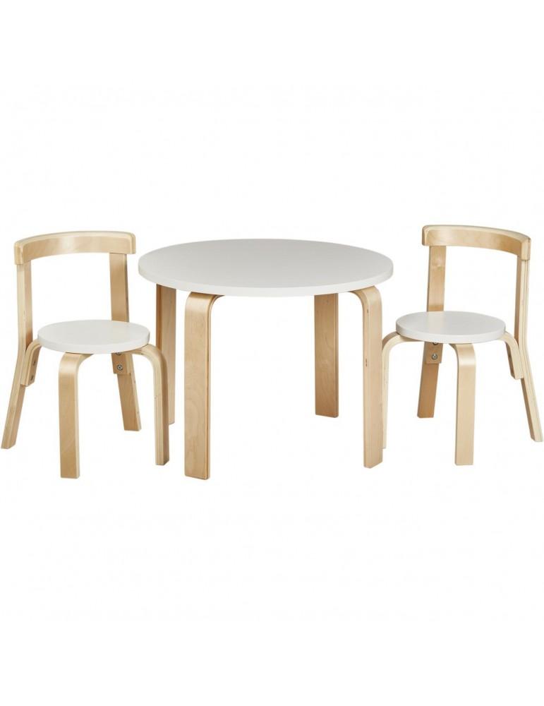 Set 2 chaises + table enfant ewer blanc 41304BL