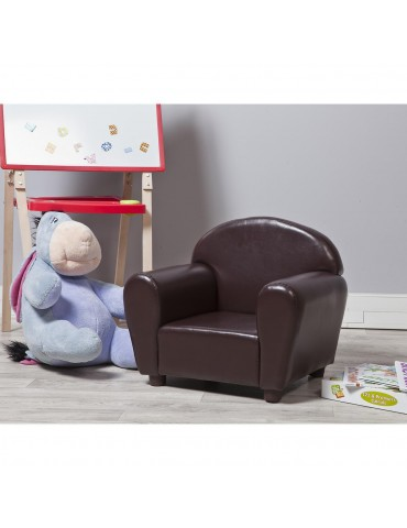 Fauteuil enfant confortable en simili cuir sveinn chocolat 25111CH