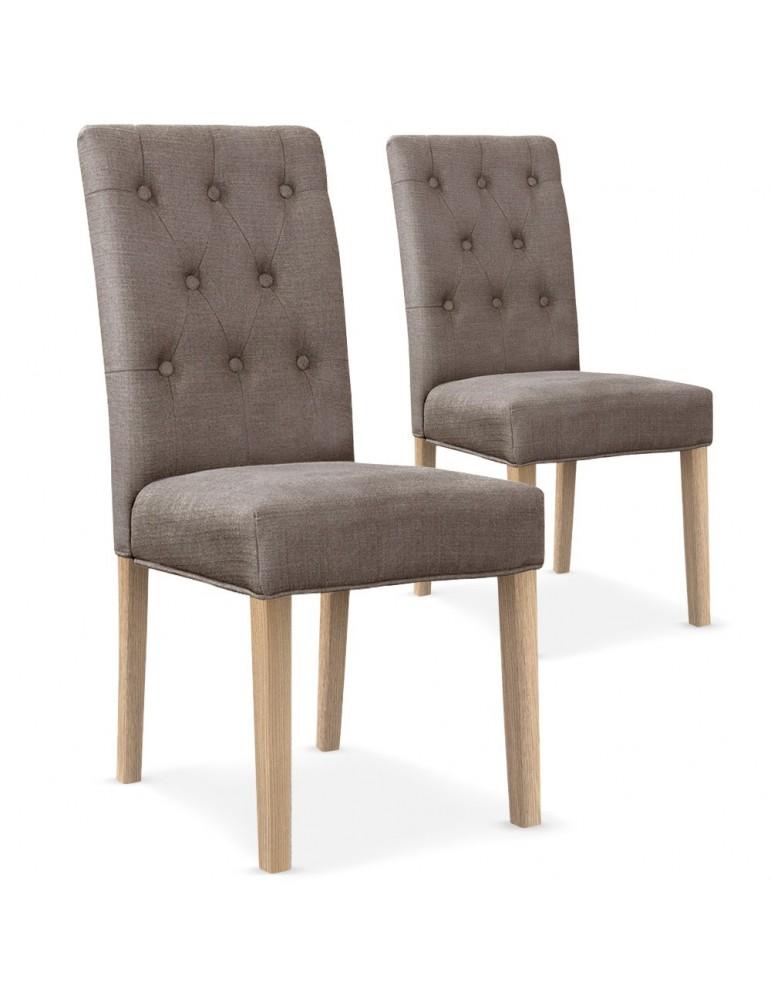 Lot de 2 chaises Costel Tissu Taupe hy901rtissumarron
