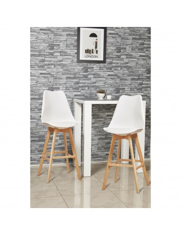 Lot de 2 tabourets de bar betty blanc 16163BL