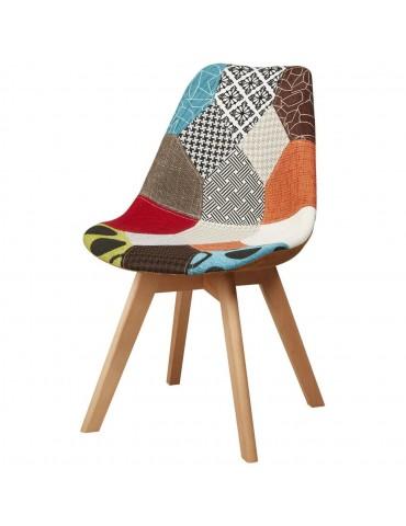 Lot de 4 chaises chapeau patchwork multicolore 16136MC