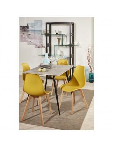 lot de 4 chaises scandinaves liana jaune moutarde 16150MT