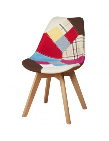 Chaise tendance brett patchwork multicolore 16130MC