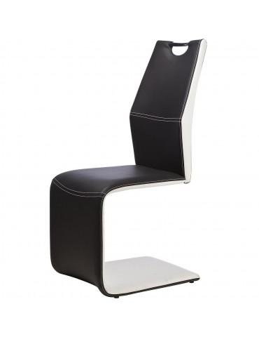 Lot de 4 chaises bi couleur ellieday noir et blanc 14514NB