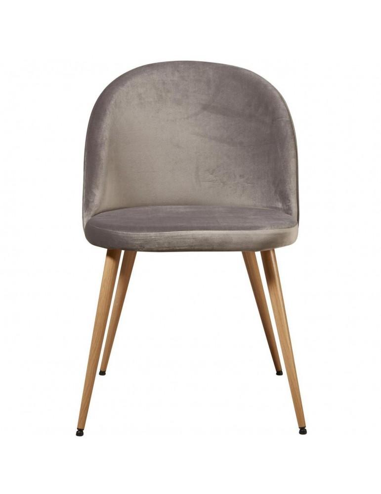 Lot de 4 chaises de sejour velours sean gris 15603GR
