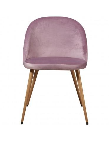 Lot de 4 chaises de sejour velours sean rose poudre 15603PA