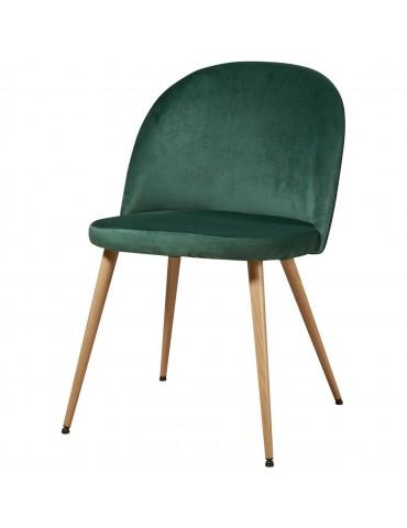 Lot de 4 chaises de sejour velours sean vert 15603VE