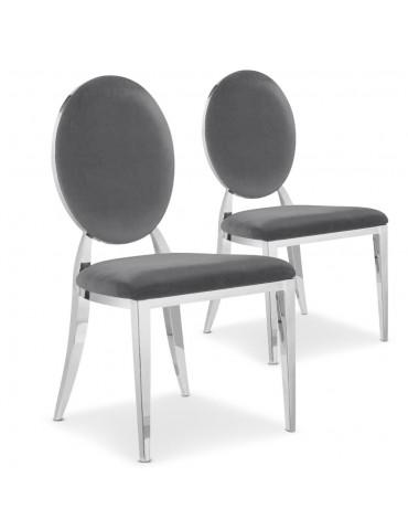 Lot de 2 chaises médaillon Sofia Velours Gris sc2204lot2greyvelvet