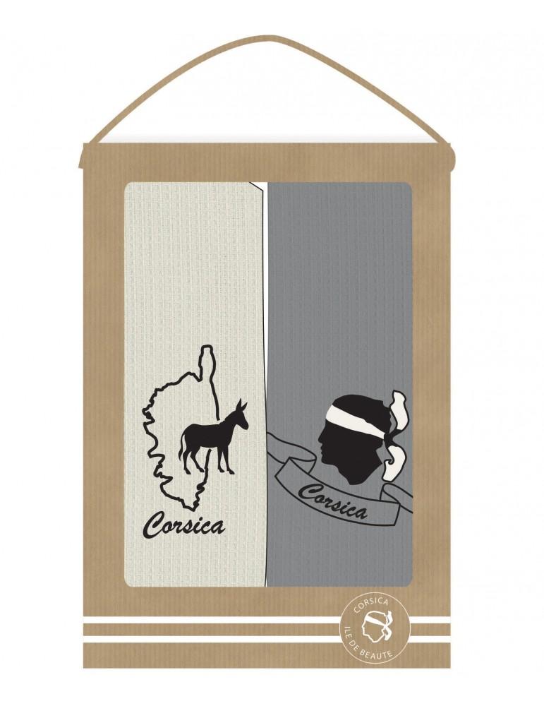 2 torchons Corse Gris/ivoire 40 x 60 6274090702Les Ateliers du Linge