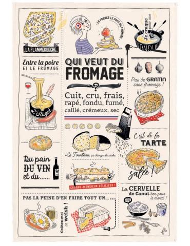 Torchon Qui veut du fromage Ecru 48 x 72 8549090000Winkler