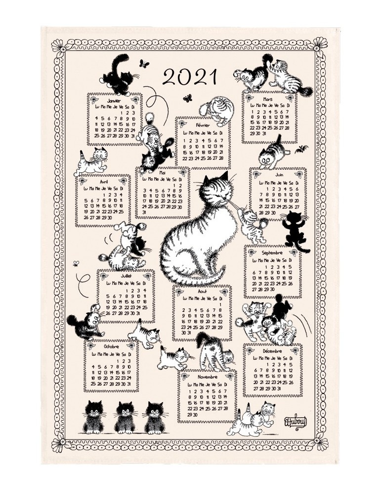 Torchon Dubout Calendrier Chatons 2021 Ecru 48 x 72 8612010000Winkler