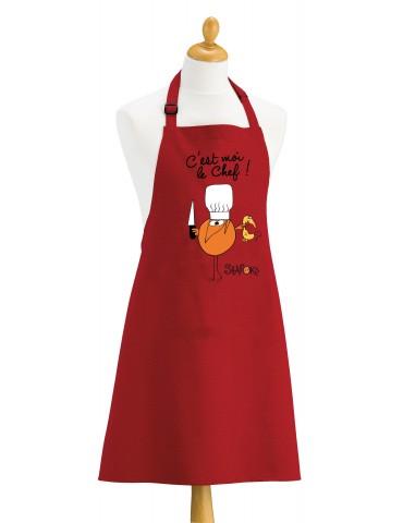 Tablier de cuisine Shadoks C'est moi le chef Rouge 90 x 72 8652030000Winkler