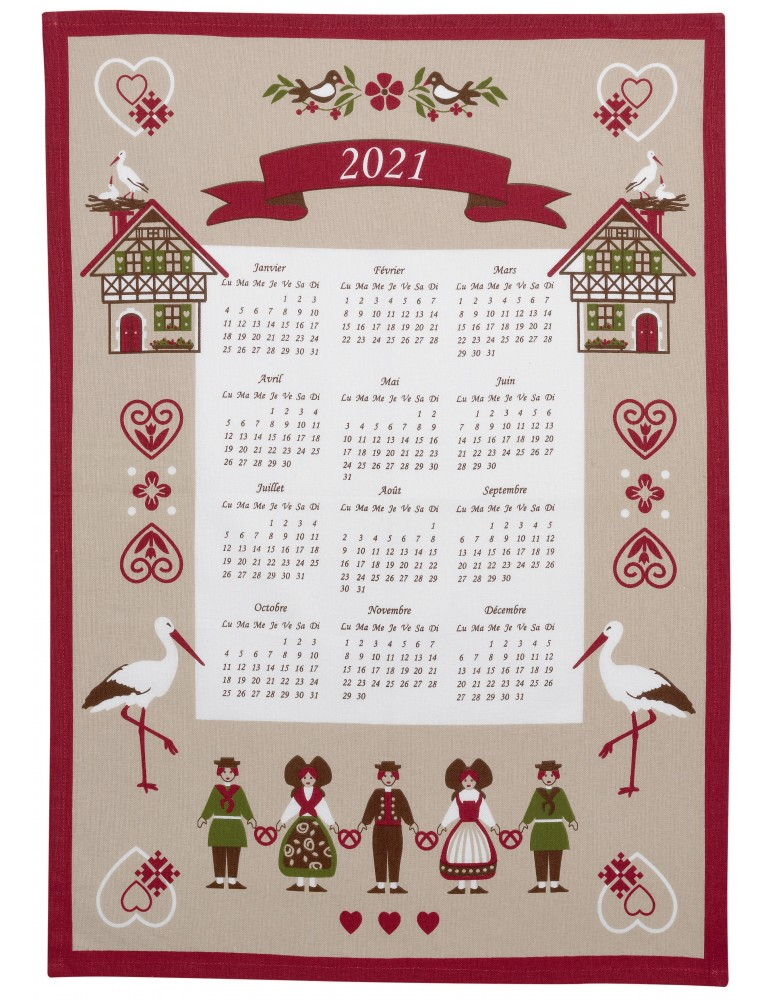 Torchon Calendrier 2021 Hisla Beige 50 x 70 8670080000