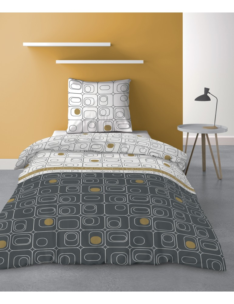 Parure de lit 1 personne Niagara Gold avec housse de couette et taie d'oreiller Imprimé 140 x 200 8361000502Les Ateliers du L...