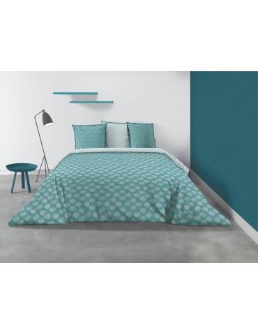 Parure de lit 2 personnes Kadi Blue avec housse de couette et taies d'oreiller Imprimé 240 x 220 8210000503Les Ateliers du Linge