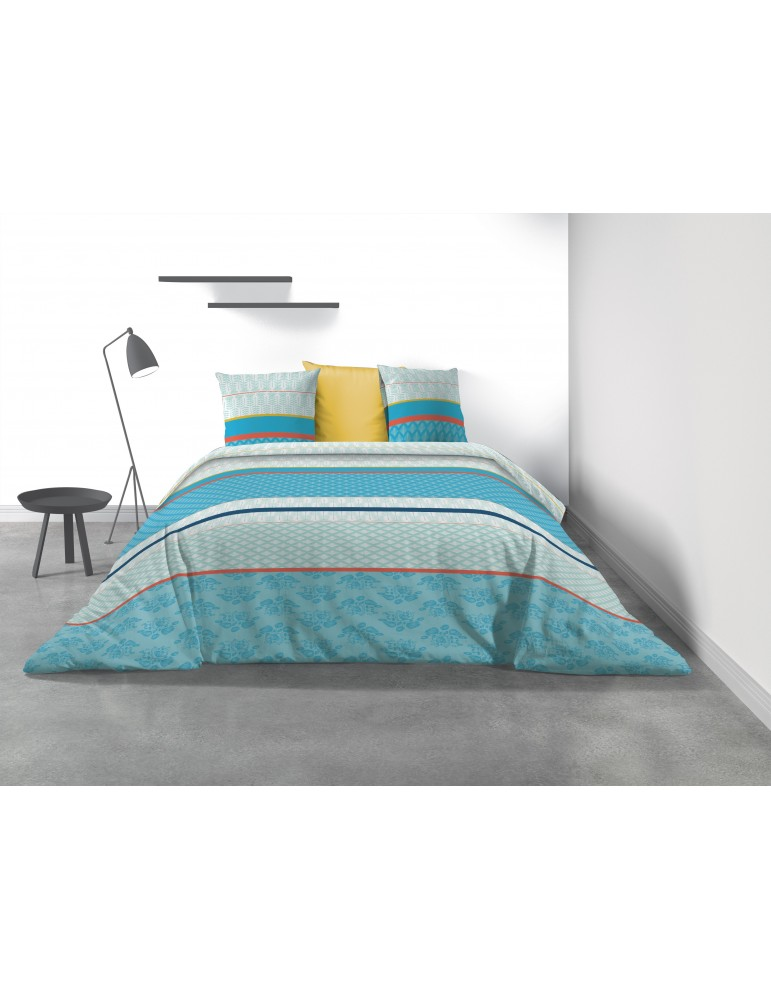 Parure de lit 2 personnes Eva Blue avec housse de couette et taies d'oreiller Imprimé 260 x 240 8032000503Les Ateliers du Linge