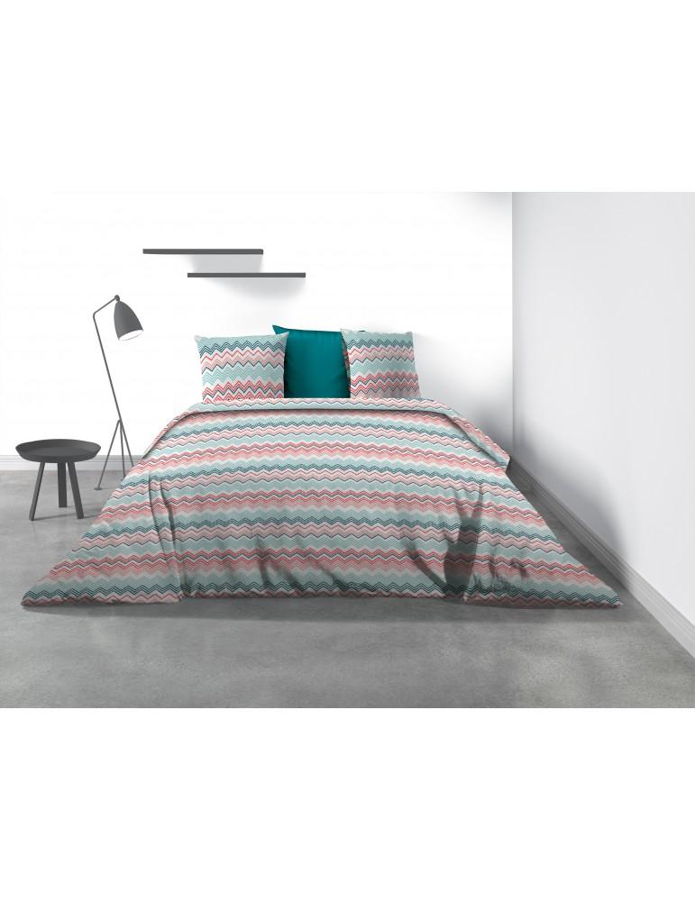 Parure de lit 2 personnes Kaja avec housse de couette et taies d'oreiller Imprimé 240 x 220 7860000503Les Ateliers du Linge