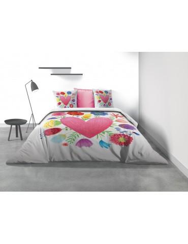 Parure de lit 2 personnes Fleurs d'amour avec housse de couette et taies d'oreiller Imprimé 260 x 240 7800000503Les Ateliers ...