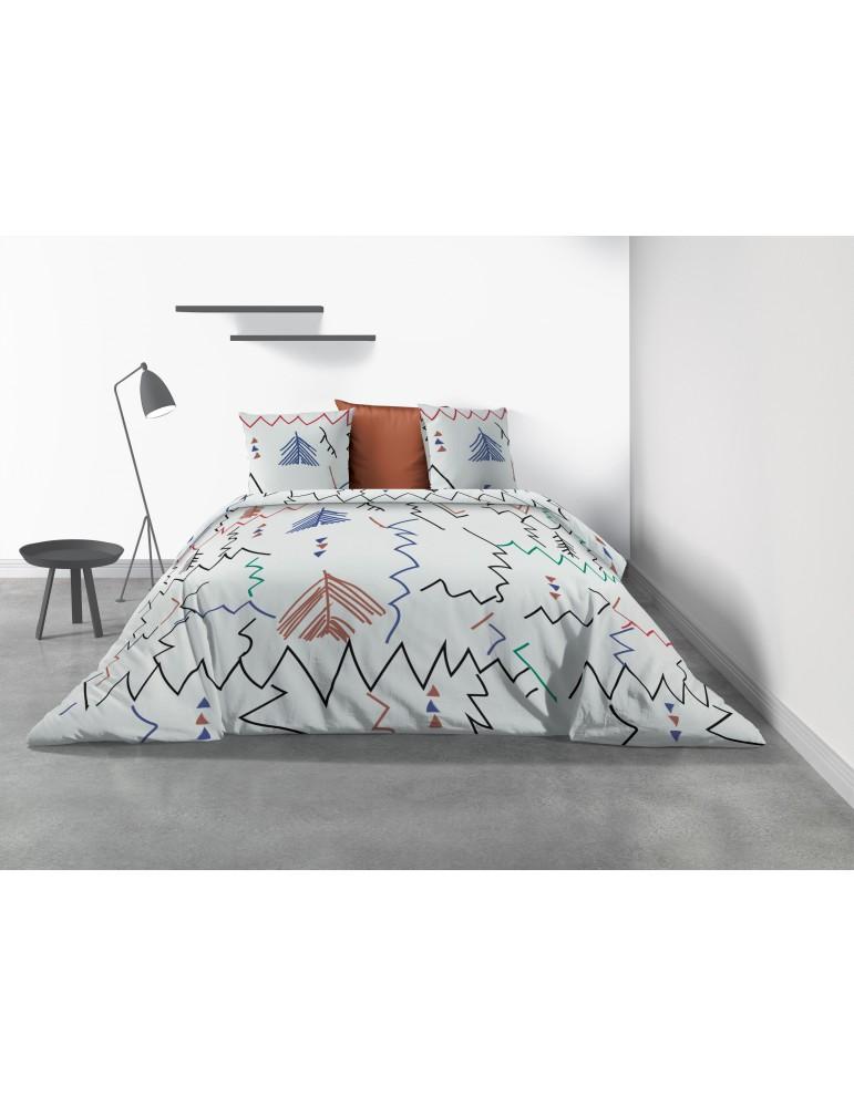 Parure de lit 2 personnes Ryad avec housse de couette et taies d'oreiller Imprimé 240 x 220 7811000503Les Ateliers du Linge