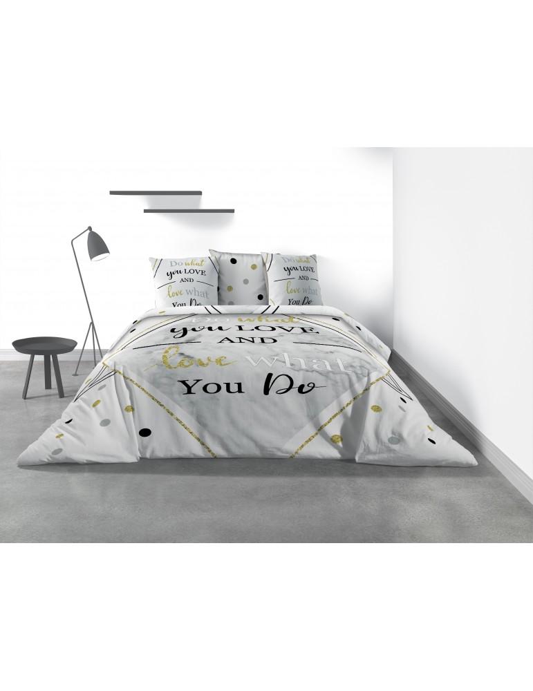 Parure de lit 2 personnes What avec housse de couette et taies d'oreiller Imprimé 240 x 220 7821000503Les Ateliers du Linge