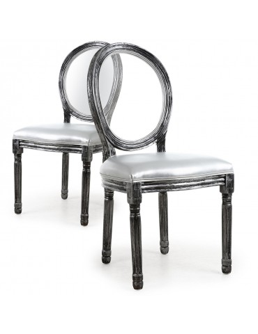 Lot de 2 chaises Louis XVI Glass Argent 24501acrsilver