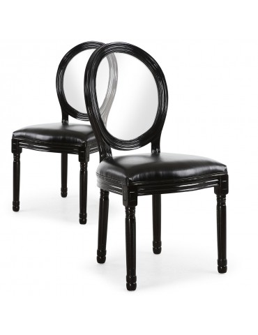 Lot de 2 chaises Louis XVI Glass Noir 24501acrblack